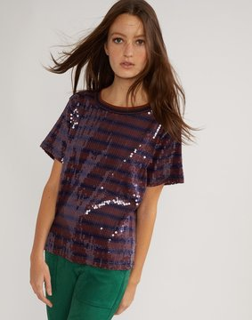 Cynthia Rowley Sequin Striped Tee