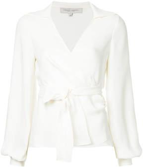 Carolina Herrera bell-sleeve wrap blouse