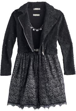 Knitworks Girls 7-16 Swiss Dot Sequin Moto Jacket & Lace Skirt Dress Set with Necklace