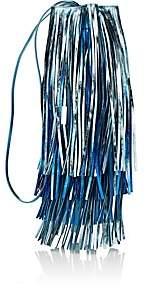 Calvin Klein Women's Fringed Leather Bucket Bag - Blue