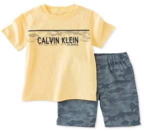 Calvin Klein Boys 2-Piece Ripstop Graphic T-Shirt Yellow 4T - Toddler