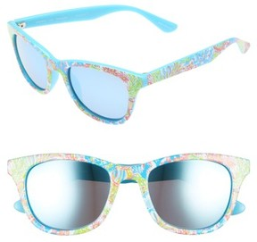 Lilly Pulitzer Women's Maddie 52Mm Polarized Mirrored Sunglasses - Blue