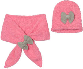 Billieblush Pink and Silver Bow Hat and Scarf Set
