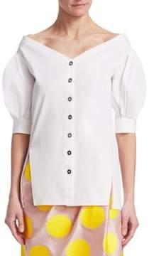 Carolina Herrera Cotton Poplin Off-Shoulder Blouse