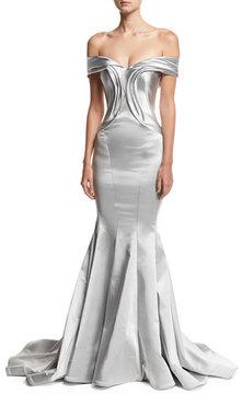 Zac Posen Off-the-Shoulder Metallic Mermaid Gown