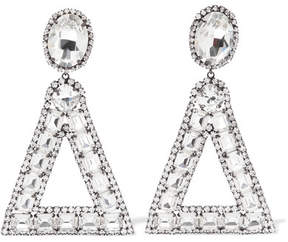 Kenneth Jay Lane Gunmetal-plated Crystal Clip Earrings - Silver