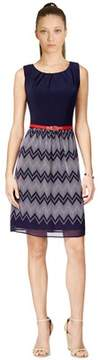 Connected Apparel Sleeveless Belted Chevron Stripe Dress.