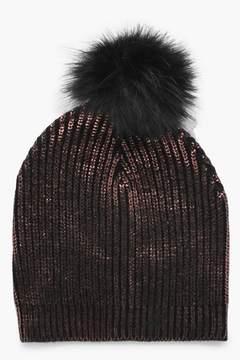 boohoo Freya Metallic Faux Fur Pom Beanie