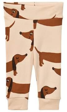 Mini Rodini Beige Sausage Dog Print Leggings