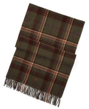 Ralph Lauren Plaid Wool Blanket Scarf Deep Loden One Size