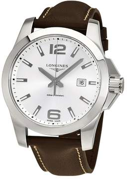 Longines Conquest Silver Dial Brown Leather Men's Watch
