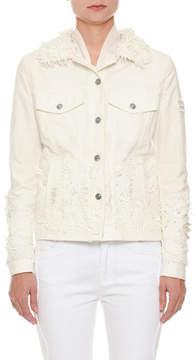 Ermanno Scervino Button-Front Floral-Eyelet Denim Jacket