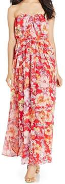 Nine West Women's Belted Floral Strapless Chiffon Dress