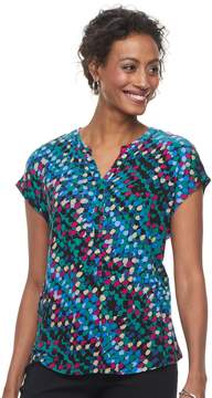 Dana Buchman Women's Print Splitneck Top