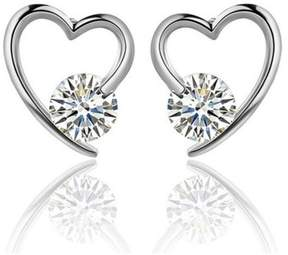 Alpha A A Designer Inspired Heart Shaped Earrrings with Centered CZ
