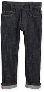 Givenchy Denim Trousers w/ Leather Trim, Size 6-10