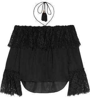 Rachel Zoe Cali Off-the-shoulder Lace And Silk-chiffon Top - Black