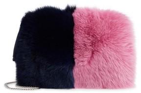 Loeffler Randall Genuine Fox Fur Tassel Pouch - Blue