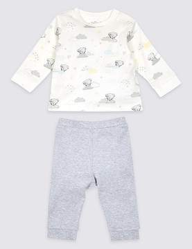 Marks and Spencer 2 Piece Pure Cotton Printed Top & Bottom Outfit