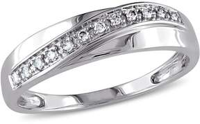 Ice Julie Leah 1/10 CT TW Mens Crossover Diamond Wedding Band in 10k White Gold