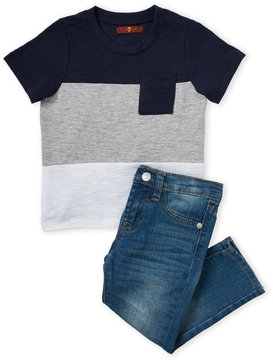 7 For All Mankind Toddler Boys) Two-Piece Shirt & Jeans Set