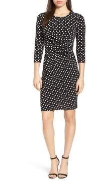 Anne Klein Splashy Dot Twist Waist Dress