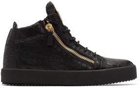 Giuseppe Zanotti Black Croc May London High-Top Sneakers