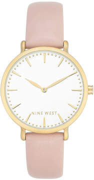 Nine West Women's Light Pink Faux Leather Strap Watch 42mm