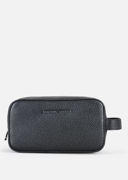 Emporio Armani grainy leather wash bag