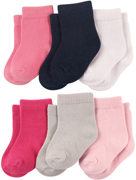 Luvable Friends Pink & Black 6-Pair Socks Set - Infant