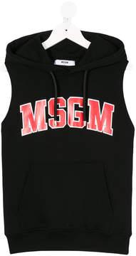 MSGM logo print sleeveless hoodie