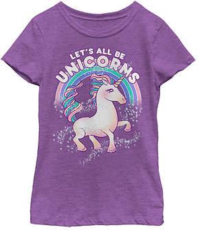 Fifth Sun Purple Berry 'Let's All Be Unicorns' Tee - Girls
