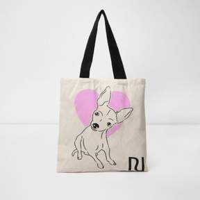 River Island Womens Beige heart and dog print shopper