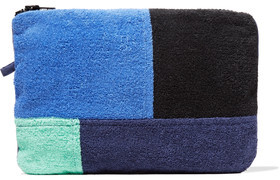 Lisa Marie Fernandez Color-Block Paneled Cotton-Terry Pouch