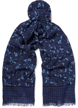 Isaia Fringed Printed Cashmere And Wool-Blend Twill Scarf