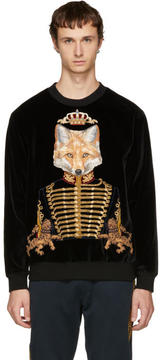 Dolce & Gabbana Black Velvet Royal Fox Sweatshirt