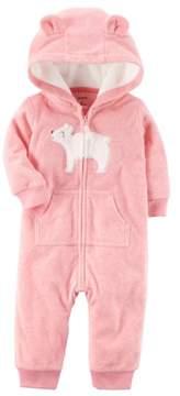 Carter's Baby Girls' Bear Patch Hooded Fleece Jumpsuit 18 Months