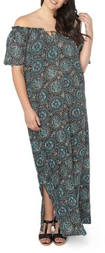 Evans Plus Size Women's Floral Print Off The Shoulder Maxi Dress