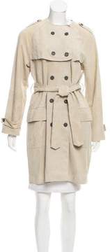 Strenesse Double-Breasted Suede Coat