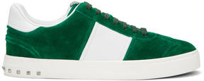 Valentino Green and White Garavani Fly Crew Sneakers