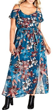 City Chic Plus Size Women's Fall Lily Off The Shoulder Maxi Dress