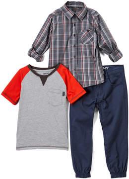 DKNY Heather Light Gray Big City Button-Up Set - Infant, Toddler & Boys