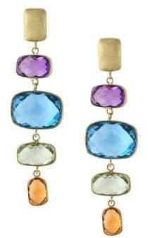 Effy Mosaic Amethyst, Topaz, Citrine and 14K Yellow Gold Drop Earrings