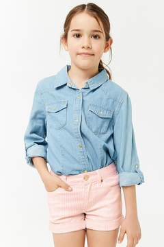 Forever 21 Girls Striped Denim Shorts (Kids)