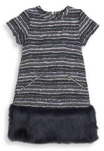 Andy & Evan Little Girl's Faux Fur Hem Shift Dress