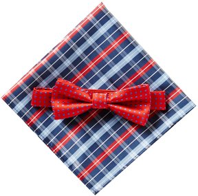 Class Club Dotted Bow Tie & Plaid Pocket Square Set