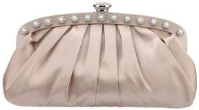 Nina Pearl Pleated-Frame Satin Clutch