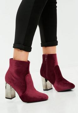 Missguided Burgundy Metal Heel Velvet Ankle Boots