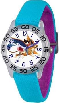 Disney Elena of Avalor Girls' Clear Plastic Time Teacher Watch, Reversible Blue and Purple Nylon Strap