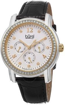 Burgi White Dial Black Leather Strap Ladies Watch